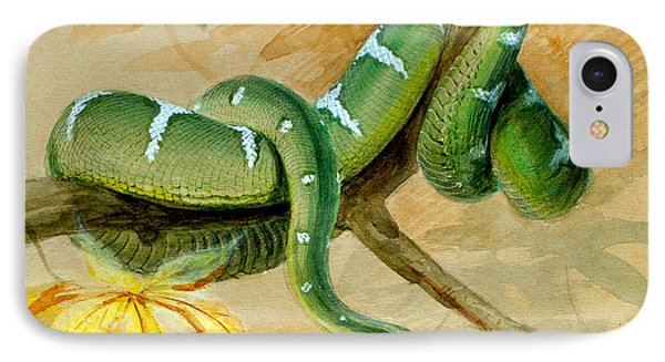 Boa Constrictor iPhone 7 Case - Green Boa by Joseph Wolf