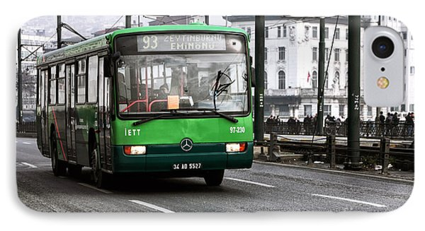 Green Bus On The Galata Phone Case by John Rizzuto