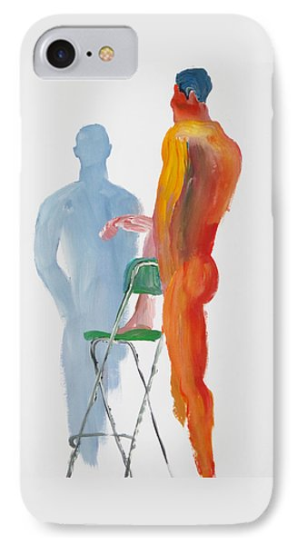 IPhone Case featuring the painting Green Chair Blue Shadow by Shungaboy X