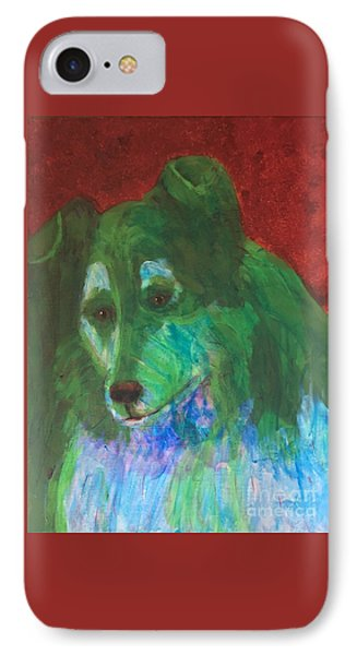 IPhone Case featuring the painting Green Collie by Donald J Ryker III