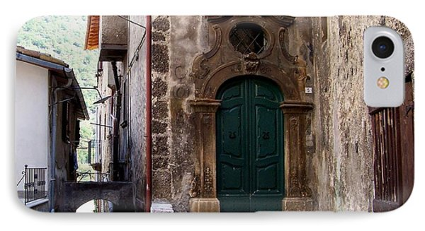 IPhone Case featuring the photograph Green Door by Judy Kirouac