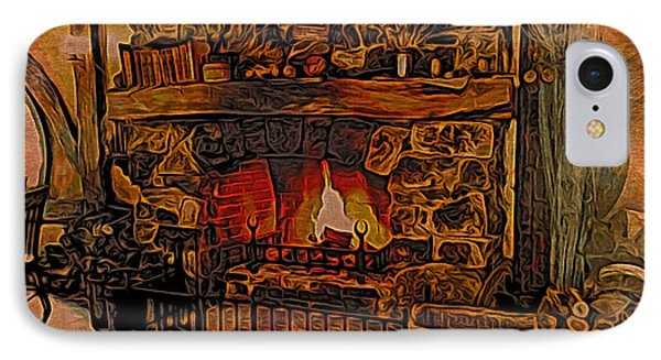 IPhone Case featuring the digital art Green Dragon Hearth by Kathy Kelly