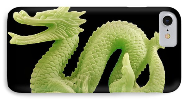 IPhone Case featuring the photograph Green Dragon On Black by Bill Barber