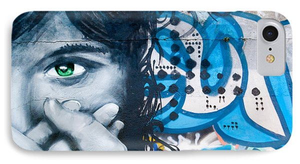 IPhone Case featuring the painting Green-eye Graffiti Girl On The Brick Wall by Yurix Sardinelly