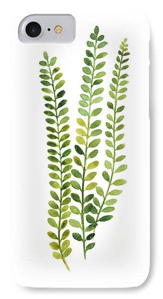 Garden iPhone 7 Case - Green Fern Watercolor Minimalist Painting by Joanna Szmerdt