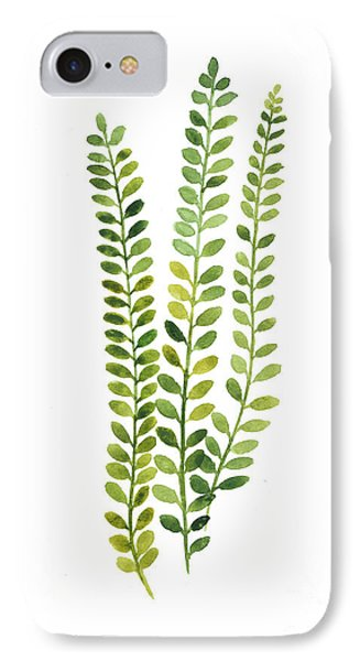 Green Fern Watercolor Minimalist Painting IPhone Case by Joanna Szmerdt