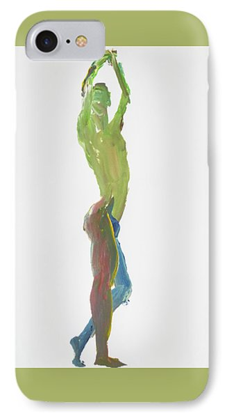 IPhone Case featuring the painting Green Gesture 1 Profile by Shungaboy X