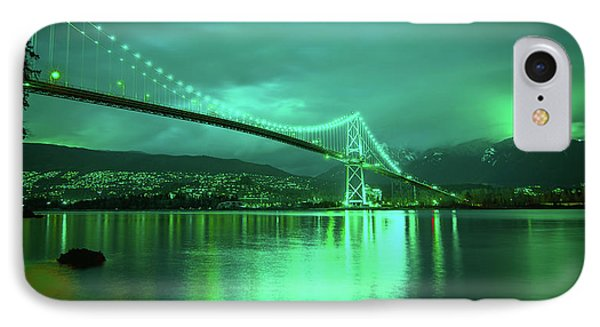 Green Glow Of The Bridge IPhone Case by James Wheeler