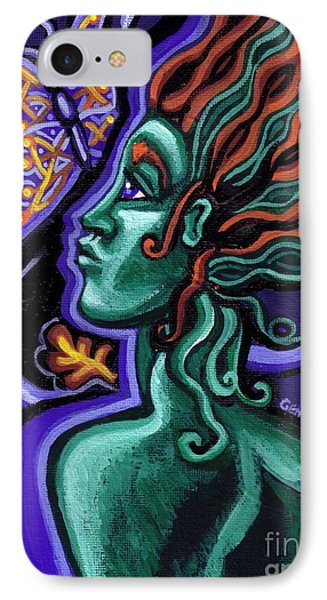 Green Goddess With Butterfly Phone Case by Genevieve Esson