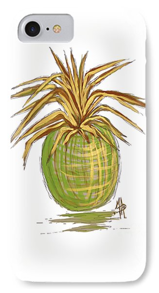 Green Gold Pineapple Painting Illustration Aroon Melane 2015 Collection By Madart IPhone Case by Megan Duncanson