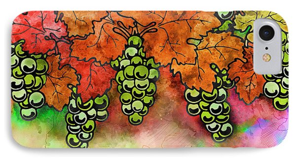 Green Grapes On The Vine - Vintage Wine Harvest - 2 In A Series IPhone Case by Rayanda Arts