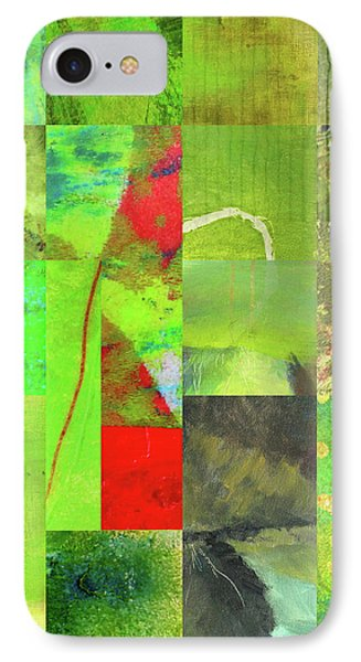 IPhone 7 Case featuring the digital art Green Grid by Nancy Merkle