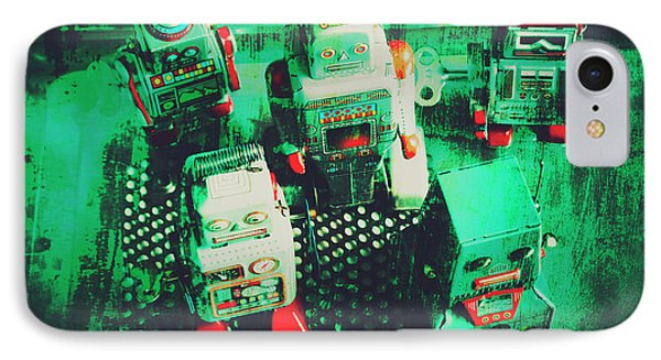 Green Grunge Comic Robots IPhone Case by Jorgo Photography - Wall Art Gallery