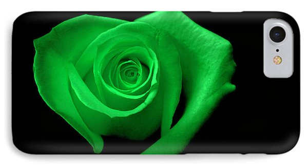 Green Heart-shaped Rose Phone Case by Glennis Siverson