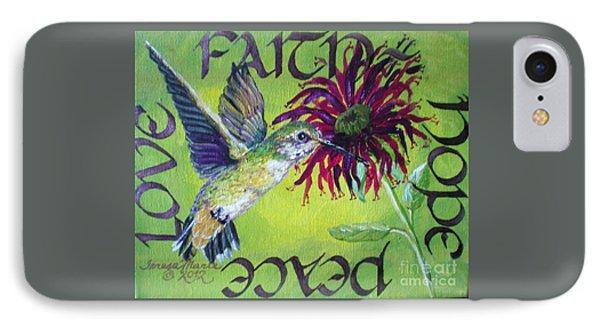 Green Hummingbird Faith, Hope, Peace, Love IPhone Case by Teresa Marie Staal Cowley