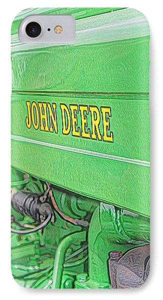 Green John Deere Tractor IPhone Case by Dan Sproul