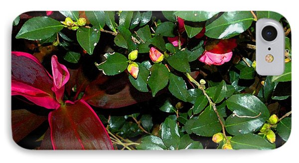 Green Leafs And Pink Flower Phone Case by Michael Thomas