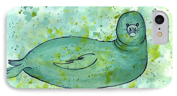 IPhone Case featuring the painting Green Monk Seal by Darice Machel McGuire