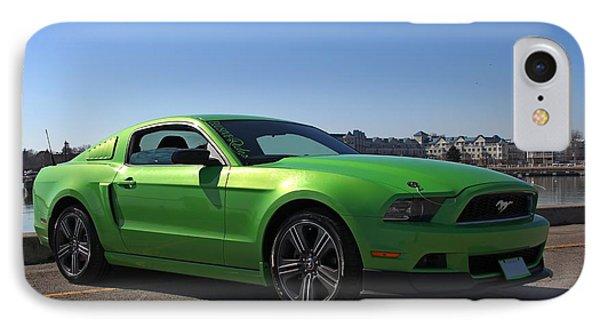 Green Mustang IPhone Case by Davandra Cribbie