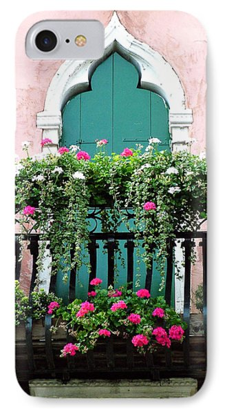 IPhone Case featuring the photograph Green Ornate Door With Geraniums by Donna Corless