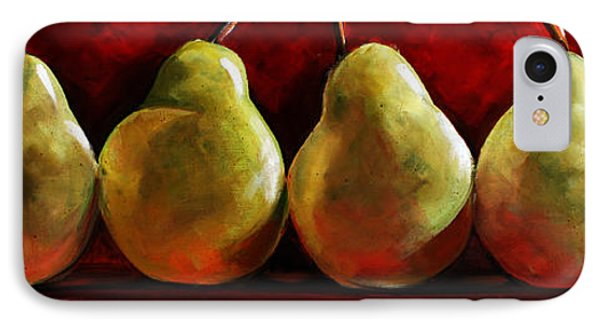 Green Pears On Red Phone Case by Toni Grote