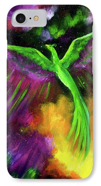 Green Phoenix In Bright Cosmos IPhone Case by Laura Iverson