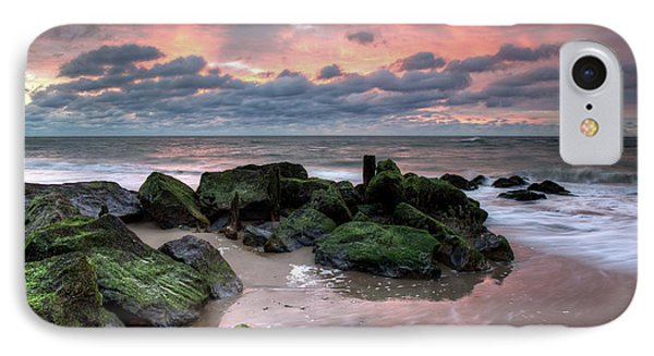 Green Rocks Pink Sky IPhone Case by Mike Deutsch