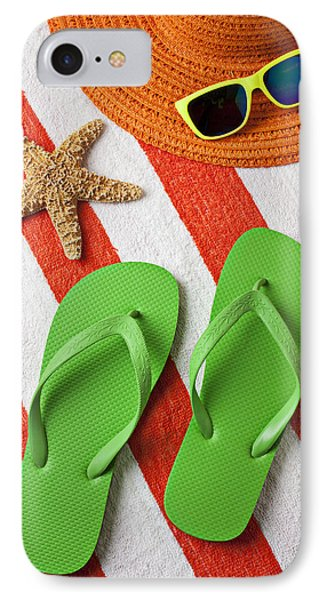 Green Sandals On Beach Towel Phone Case by Garry Gay