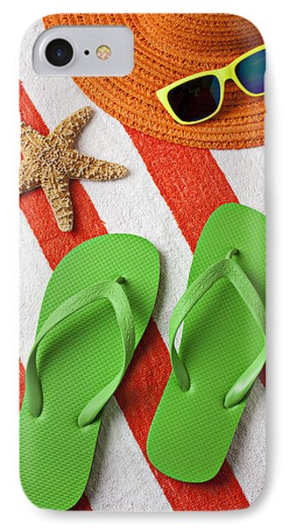 Green Sandals On Beach Towel IPhone Case