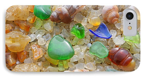 Green Seaglass Art Prints Sea Glass Shells Agates IPhone Case by Baslee Troutman Fine Art Prints