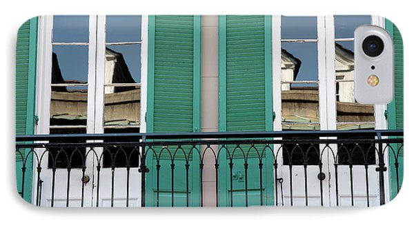 IPhone Case featuring the photograph Green Shutters Reflections by KG Thienemann