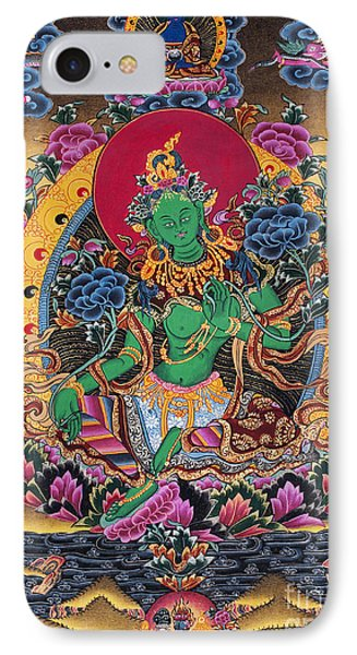 Green Tara Thangka IPhone Case by Tim Gainey