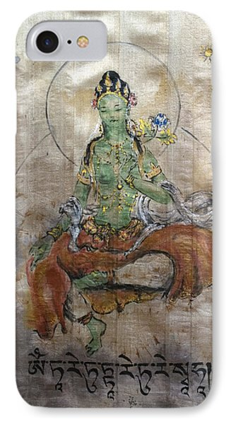 Green Tara  IPhone Case by Silk Alchemy