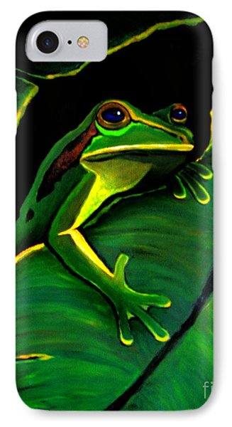 Green Tree Frog And Leaf Phone Case by Nick Gustafson