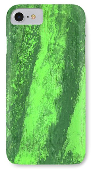 Green Vein, Abstract Acrylic Painting IPhone Case by Cara Bevan