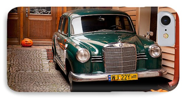 Green Vintage Mercedes Benz Car IPhone Case by Arletta Cwalina
