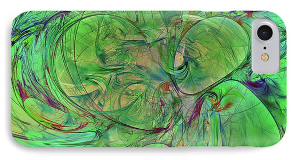 IPhone Case featuring the digital art Green World Abstract by Deborah Benoit