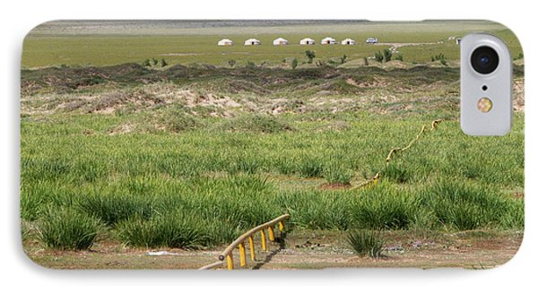 IPhone 7 Case featuring the photograph Greenery In Desert, Gobi, 2016 by Hitendra SINKAR
