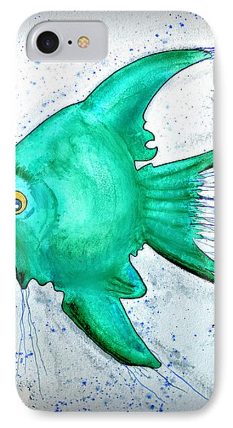 IPhone Case featuring the mixed media Greenfish by Walt Foegelle