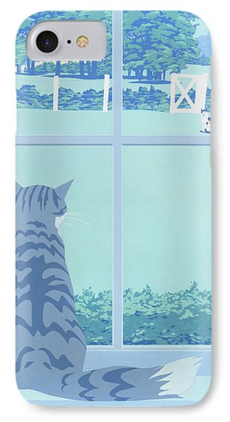 Greeting Card - Cats Staring IPhone Case by Walt Curlee