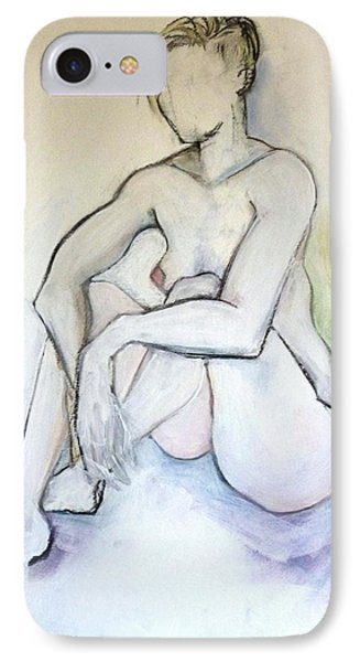 IPhone Case featuring the pastel Gretchen - Female Nude Drawing by Carolyn Weltman