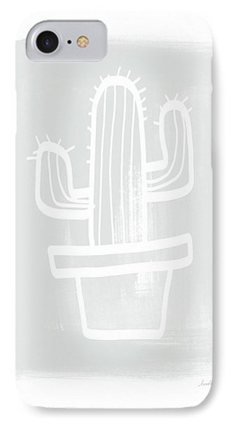 Grey And White Cactus- Art By Linda Woods IPhone Case by Linda Woods