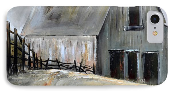 IPhone Case featuring the painting Grey Barn by Cher Devereaux