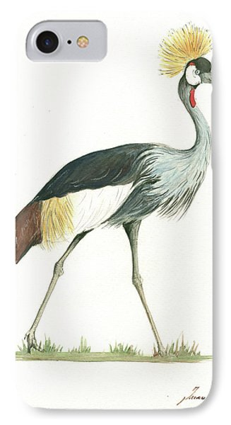 Grey Crowned Crane IPhone Case by Juan Bosco