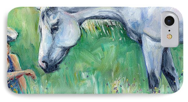 Grey Horse And Cowgirl IPhone Case by Maria's Watercolor