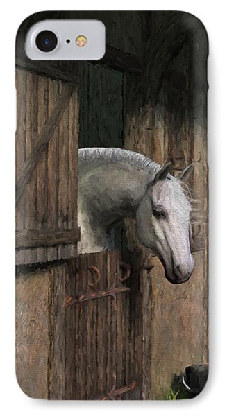 Grey Horse In The Stable - Waiting For Dinner IPhone Case by Jayne Wilson