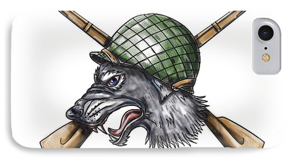 Grey Wolf Ww2 Helmet Crossed Rifles Tattoo IPhone Case