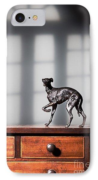 Greyhound Figure In Bronze IPhone Case by Amanda Elwell