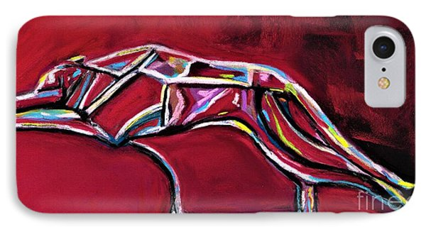 IPhone Case featuring the painting Greyhound Glass Figurine  by Frances Marino