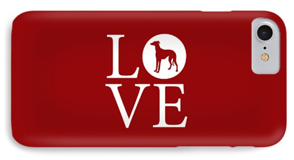 Greyhound Love Red IPhone Case by Nancy Ingersoll
